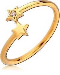 GOLD PVD COATED STERLING 925 SILVER JEWELED RING - STAR