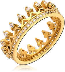 GOLD PVD COATED STERLING 925 SILVER JEWELED RING - CROWN