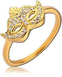 GOLD PVD COATED STERLING 925 SILVER JEWELED RING - MASK
