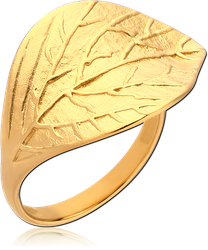 GOLD PVD COATED STERLING 925 SILVER RING - LEAF