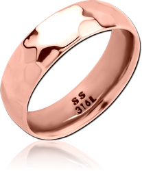 ROSE GOLD PVD COATED SURGICAL STEEL GRADE 316L RING - HAMMERED STRIPE