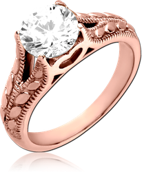 ROSE GOLD PVD COATED SURGICAL STEEL GRADE 316L JEWELED RING