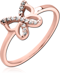 STERLING 925 SILVER ROSE GOLD PVD COATED JEWELED  RING - BUTTERFLY