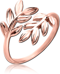 STERLING 925 SILVER ROSE GOLD PVD COATED OPEN RING - LEAF