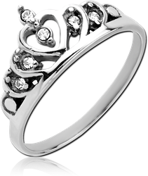 SURGICAL STEEL GRADE 316L JEWELED RING - CROWN