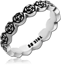 SURGICAL STEEL GRADE 316L RING - ROSES