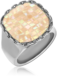 SURGICAL STEEL GRADE 316L ORGANIC SYNTHETIC MOTHER OF PEARL MOSAIC RING