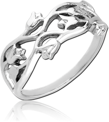 SURGICAL STEEL GRADE 316L RING - FLOWERS