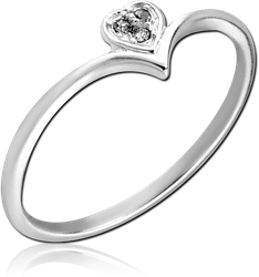 STERLING 925 SILVER JEWELED RING - HEART