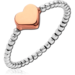 STERLING 925 SILVER RING WITH ROSE GOLD PVD COATED - HEART