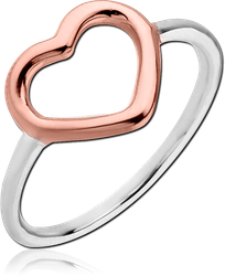 STERLING 925 SILVER RING WITH ROSE GOLD PLATED - HEART