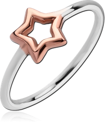 STERLING 925 SILVER RING WITH ROSE GOLD PVD COATED - STAR