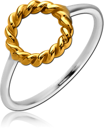 STERLING 925 SILVER RING WITH GOLD PVD COATED - CIRCLE
