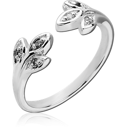 STERLING 925 SILVER PLATED JEWELED RING - LEAF