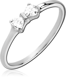 STERLING 925 SILVER JEWELED RING - BOW