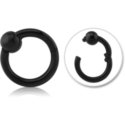 BLACK PVD COATED SURGICAL STEEL GRADE 316L HINGED SEGMENT RING WITH BALL
