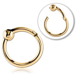 GOLD PVD 18K COATED SURGICAL STEEL GRADE 316L HINGED SEGMENT RING WITH BALL