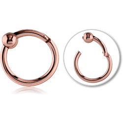 ROSE GOLD PVD COATED SURGICAL STEEL GRADE 316L HINGED SEGMENT RING WITH BALL