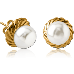GOLD PVD COATED SURGICAL STEEL GRADE 316L EAR STUDS PAIR WITH SYNTATIC PEARL - FILIGREE