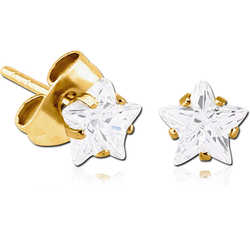 GOLD PVD COATED SURGICAL STEEL GRADE 316L STAR PRONG SET JEWELED EAR STUDS PAIR