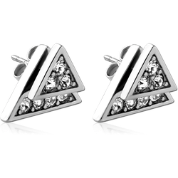 SURGICAL STEEL GRADE 316L JEWELED BACK EARRINGS WITH STUD PAIR - TRIANGLE