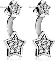 SURGICAL STEEL GRADE 316L JEWELED BACK EARRINGS WITH STUD PAIR - STAR