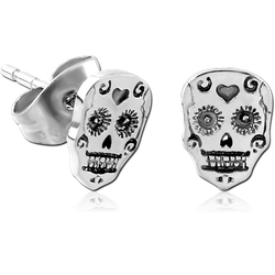 SURGICAL STEEL GRADE 316L EAR STUDS PAIR - FANCY SKULL