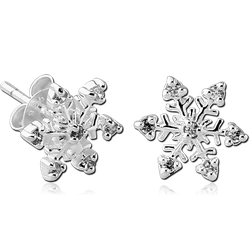 STERLING 925 SILVER JEWELED EAR STUDS PAIR - SNOWFLAKE