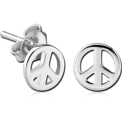 STERLING 925 SILVER EAR STUDS PAIR - PEACE SIGN