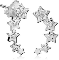 STERLING 925 SILVER JEWELED EAR STUDS PAIR - STAR