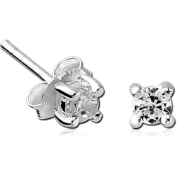 STERLING 925 SILVER JEWELED EAR STUDS PAIR