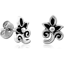 STERLING 925 SILVER EAR STUDS PAIR - FOLWER