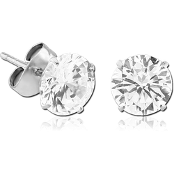 SURGICAL STEEL GRADE 316L ROUND PRONG SET JEWELED EAR STUDS PAIR