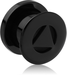 BLACK PVD COATED SURGICAL STEEL GRADE 316L THREADED TUNNEL - TRIANGLE