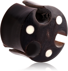 CARVED HOLLOW ORGANIC HORN DOUBLE FLARED TRIBAL PLUG