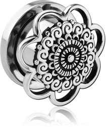 SURGICAL STEEL GRADE 316L THREADED TUNNEL - FLOWER FILIGREE