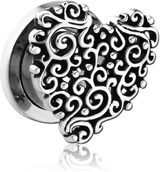 SURGICAL STEEL GRADE 316L THREADED TUNNEL - HEART FILIGREE