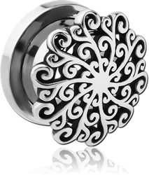 STAINLESS STEEL GRADE 304 THREADED TUNNEL WITH RHODIUM PLATED BASE METAL TOP - FILIGREE