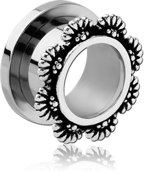 STAINLESS STEEL GRADE 304 THREADED TUNNEL WITH RHODIUM PLATED BASE METAL TOP - FLOWER FILIGREE