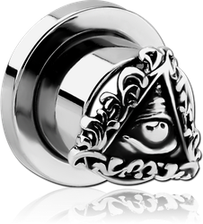 STAINLESS STEEL GRADE 304 THREADED TUNNEL WITH RHODIUM PLATED BASE METAL TOP - EYE OF PROVIDENCE FILIGREE