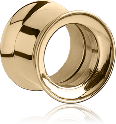 ZIRCON GOLD PVD COATED STAINLESS STEEL GRADE 304 DOUBLE FLARED INTERNALLY THREADED TUNNEL