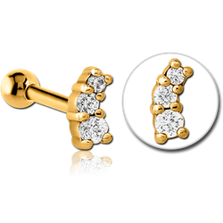GOLD PVD COATED SURGICAL STEEL GRADE 316L JEWELED TRAGUS MICRO BARBELL