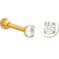 GOLD PVD COATED SURGICAL STEEL GRADE 316L ROUND PRONG SET JEWELED TRAGUS MICRO BARBELL FOR RHONA SUTTON