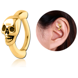 GOLD PVD COATED SURGICAL STEEL GRADE 316L ROOK CLICKER - SKULL