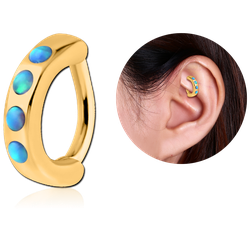 GOLD PVD COATED SURGICAL STEEL GRADE 316L SYNTHETIC OPAL ROOK CLICKER