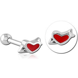 SURGICAL STEEL GRADE 316L TRAGUS MICRO BARBELL- HEART
