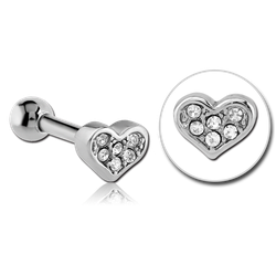 SURGICAL STEEL GRADE 316L JEWELED TRAGUS MICRO BARBELL - HEART