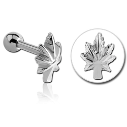 SURGICAL STEEL GRADE 316L POT LEAF TRAGUS MICRO BARBELL