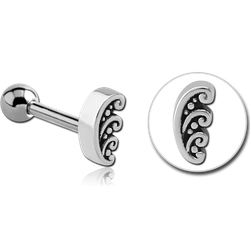 SURGICAL STEEL GRADE 316L TRAGUS MICRO BARBELL - FILIGREE