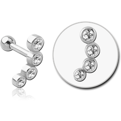 SURGICAL STEEL GRADE 316L JEWELED TRAGUS MICRO BARBELL